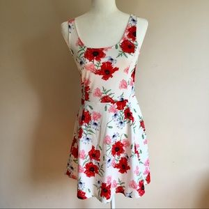 H&M Divided White With Floral Print Skater Dress